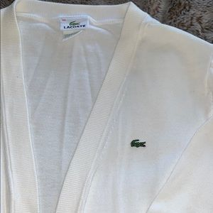 Lacoste open cardigan in white, 100% cotton.